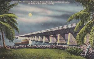 Florida Keys Seven Mile Oversea Highway Bridge From Pigeon Key At Night On Wa...