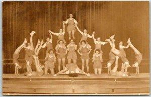 Vintage RPPC Real Photo Postcard GYMNASTICS Human Pyramid Rutland High School