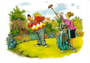 postcard comic His 'n' Hers Caddy in the Garden The Funny Side of Life unposted