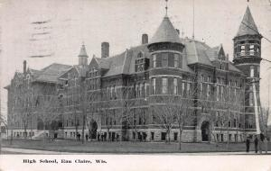 High School, Eau Claire, Wisconsin, Early Postcard, Used in 1910