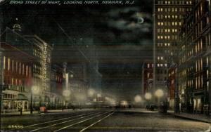 Newark NJ Broad St. at Night c1910 Postcard