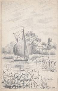 Rackham Boats Norwich Plumstead Picture Framer Advertising Old Postcard