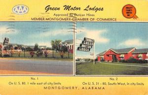Montgomery Alabama Green Motor Lodges Multiview Antique Postcard K106717