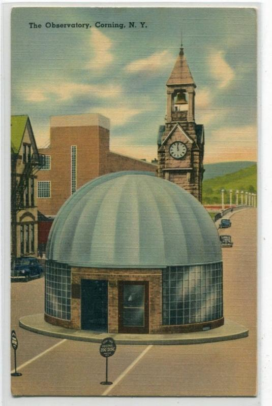 The Observatory Corning New York linen postcard