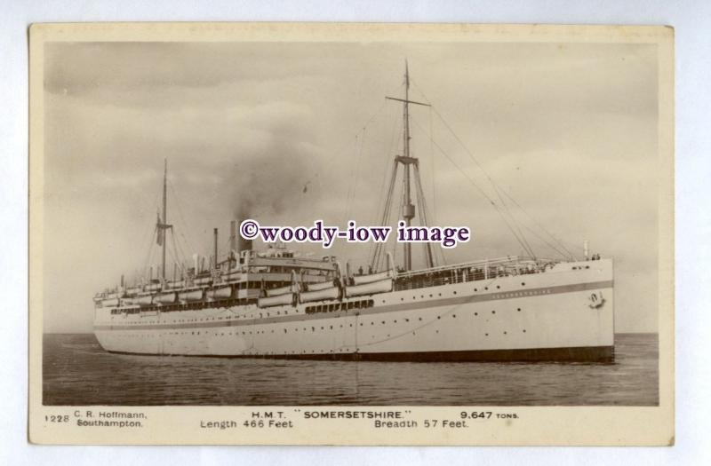 pf7160 - Bibby Troop Transport Liner - Somersetshire , built 1921 - postcard