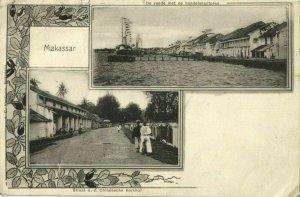 indonesia, CELEBES SULAWESI MAKASSAR, Street Scene, Quay (1903) Postcard