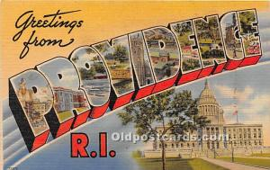 Greetings from, Linen Providence, Rhode Island, RI, USA Large Letter Glue on ...