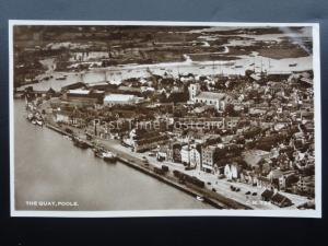 Dorset POOLE, THE QUAY Aerial View - Old RP Postcard by Thunder & Clayden CM785