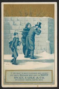 VICTORIAN TRADE CARD Lautz Soap Man & Lady Hit By Snow Balls Boy Carrying Boots