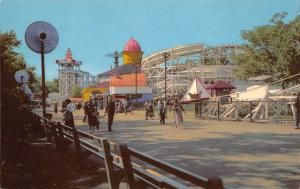 Chicago IL~Flying Turns Roller Coaster~Folks Begin to Gather on Midway 1950 PC