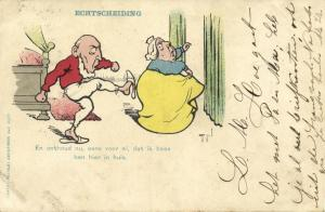 BOER WAR, Caricature Paul Kruger kicks Butt Queen Victoria (1900)