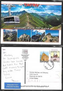 2014 Poland Zackoplane, Tatry Mountains, mailed to USA