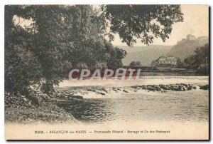 Old Postcard Besancon les Bains Micaud Promenade Dam and Island Sparrow