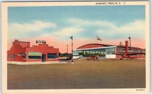 TROY, New York  NY    AIRPORT   Airplanes  ca 1940s Linen Postcard