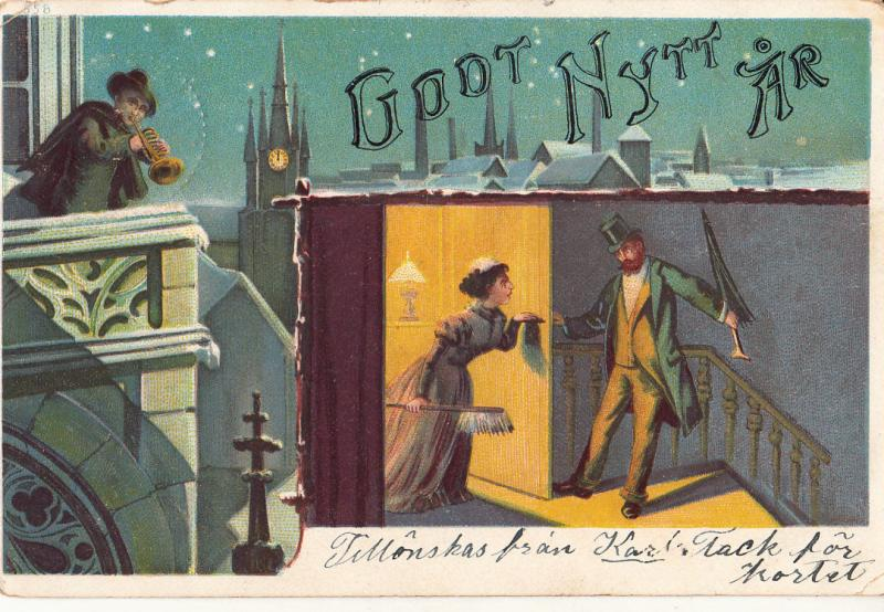 VINTAGE 1903 HAPPY NEW YEAR SWEDISH POSTCARD FUNNY ANGRY WIFE DRUNK HUSBAND