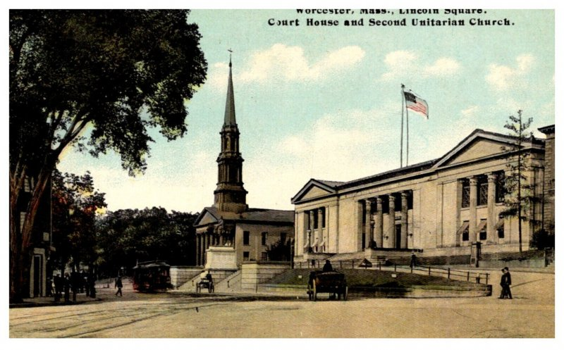 Massachusetts Worcester  Lincoln Square Court House Second Unitarian Church ,...