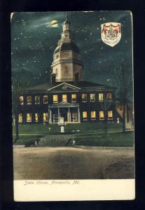 Annapolis,Maryland/MD Postcard, State House By Moonlight