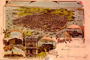 CA - San Francisco. Early Artist's Rendition of the City (Repro)