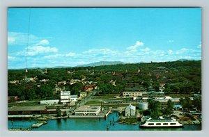 Burlington VT- Vermont, City, Aerial View, Lake Champlain, Chrome Postcard