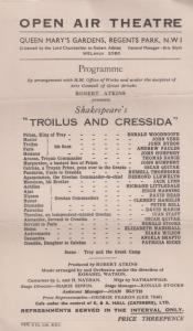 Troilus & Cressida Shakespeare Regents Park Open Air Theatre Programme