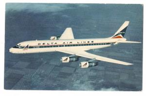 Delta Air Lines Douglas DC-8 Fanjet Aircraft Vintage Aviation Postcard Airplane