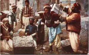 Stone Masons in Jerusalem Workers Men Unused Celesque Series Postcard F22