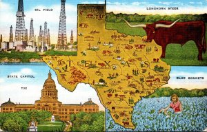 Texas Map With Oil Field Longhorn Steer State Capitol and Blue Bonnets