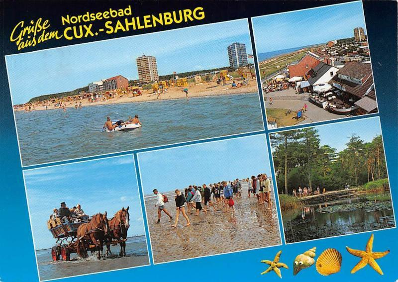 Gruesse aus dem Nordseebad Cux Sahlenburg Strand Pferde Horses Beach Promenade