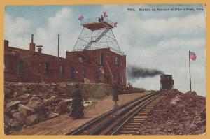 Station at the Summit of Pikes Peak, Colo.-Steam Locomotive - 1910