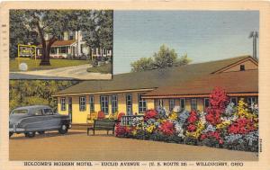 E21/ Willoughby Ohio Postcard 1953 Holcomb's Modern Motel Euclid Ave 2View Auto