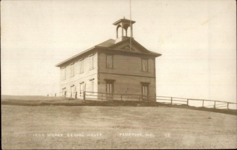 Penbroke ME Iron Works School House c1910 Real Photo Postcard
