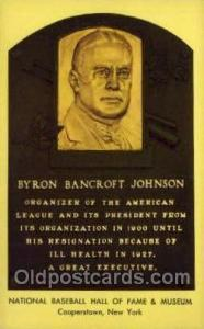 Bryron Bancroft Johnson Baseball Hall of Fame Card, Old Vintage Antique Postc...