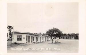 E36/ Ozona Texas Tx Real Photo RPPC Postcard c50s Hill Crest Motel Hwy290