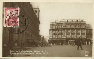 Mexico D.F., Square of the Constitution, Car (1932) RPPC Postcard