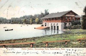 LPS47 Auburndale Massachusetts Police Station Norumbega Park Postcard
