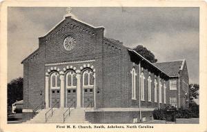 A80/ Asheboro North Carolina NC Postcard 1950 First M.E. Church Building