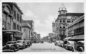 Connersville Indiana Central Street General Street Scene Antique Postcard V17698