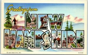 NEW HAMPSHIRE Large Letter Postcard w/ Skier / Snowy Mountain View Linen c1940s