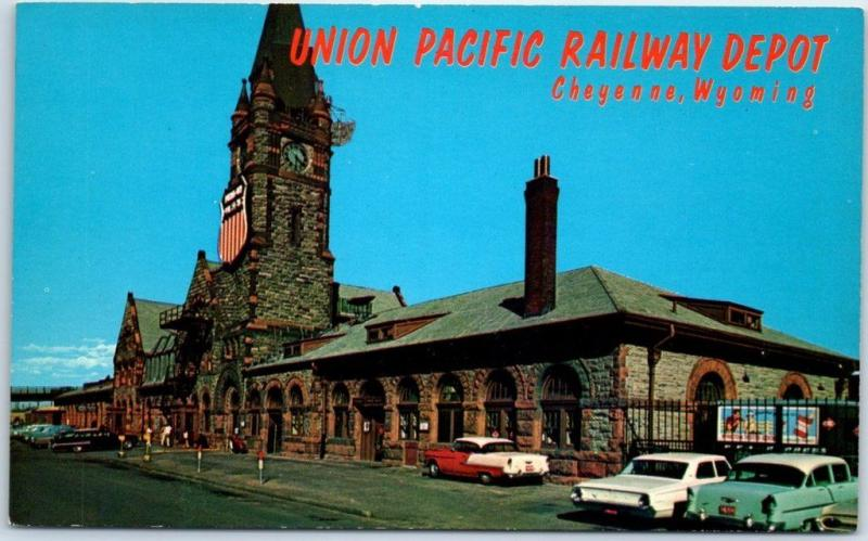 Cheyenne, Wyoming Postcard UNION Pacific RAILWAY DEPOT Street View 1950s Cars