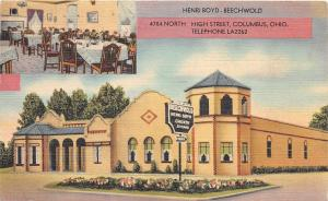 E38/ Columbus Beechwold Ohio Roadside Postcard 1939 Henri Boyd High Street