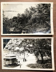 1940s RPPC Papeete Tahiti Street Scene Nature Photos Lot of 2