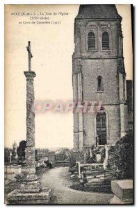 Old Postcard Anet E and L The Tower of the XVI century church and cross Cemetery