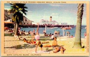 Catalina Island, Calif. Postcard Bathing at Palm-Fringed CRESCENT BEACH Linen