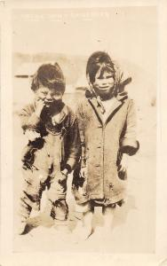 D3/ Canada Alaska AK Photo RPPC Postcard c20s Native Children Deformed? Weird