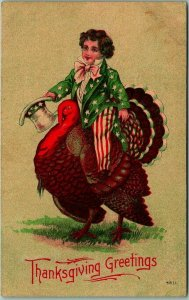 Vintage THANKSGIVING Postcard Boy Dressed as Uncle Sam, Riding Turkey #4811