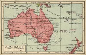 Australia, Jeheber Map with Country Info (1910s)
