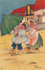 MAY GLADWIN ; Dutch kids w/ Umbrella , 1906 ; TUCK 6085