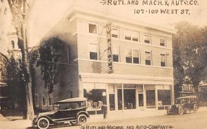 Rutland Vermont Automobile Garage Mechanic Real Photo Vintage Postcard AA3022