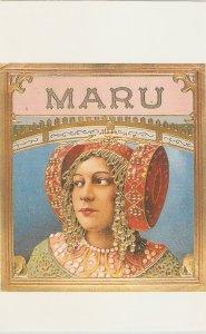 Maru Nice modern Spanish Cigar Box Label Postcard. Continental size