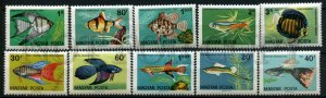 024523 FISH HUNGARY set of 10 stamps MNH#24523